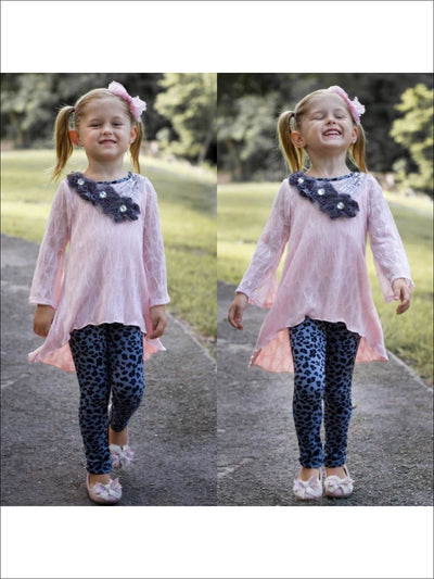 Pink/Black Boho Sleeve Tunic & Legging - Pink/Black / 2T - Fall Low Stock