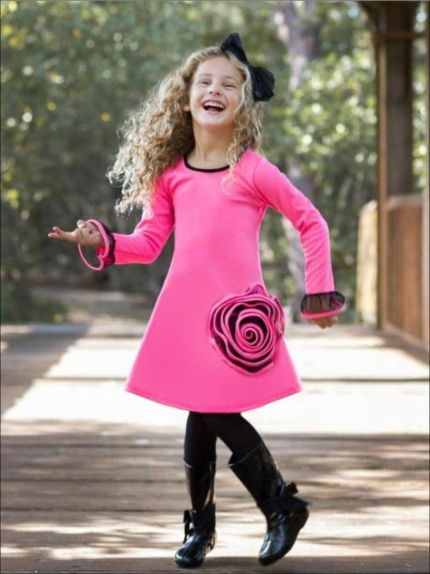 Pink/Black Long Sleeve A-Line Dress with Rose Detail - Fall Low Stock