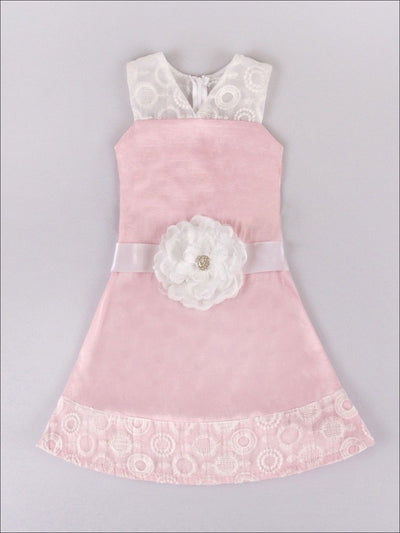 Pink/Ivory Jackie Tea Time Dress With Organza Inserts - Girls Pink Dress