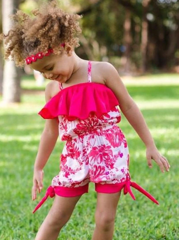 Girls Tomato Red/Pink Floral Spaghetti Strap Banded Bottom Romper w/ Ruffle Detail