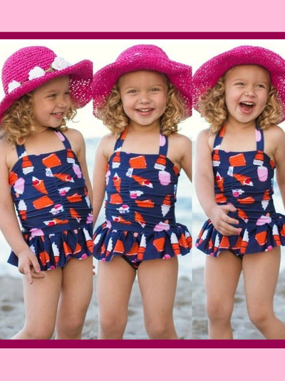 Navy Skirted & Center Cinched Ice Cream Cone Print Halter One Piece