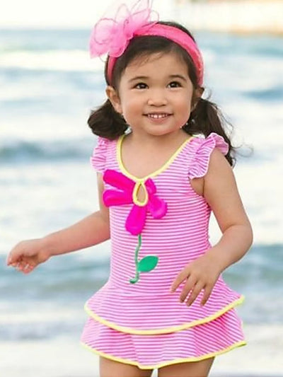 Girls Flutter Sleeve Striped Skirted One Piece Swimsuit With Flower Detail