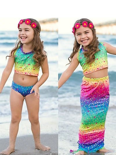 Blue Colorful Two Piece with Mermaid Skirt