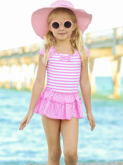 Girls Striped & Checkered Skirted One Piece with Bow Detail