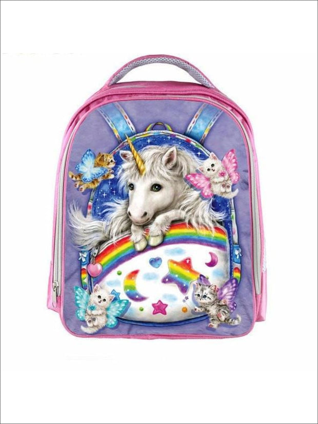Preschool 13 Pink Cartoon Unicorn 3D Print Backpack - Pink / 13 in - Unicorn Print Backpack