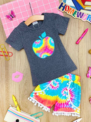 Girls Rainbow Tie Dye Apple Top and Pom Pom Shorts Set