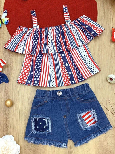 Girls Patriotic Cold Shoulder Ruffled Top and Patched Denim Shorts Set