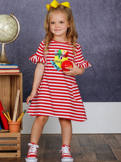 Girls Crayon Applique Ruffled Stripe Pocket Dress