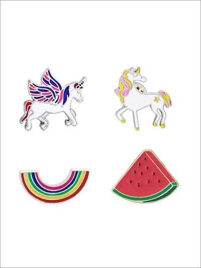 Rainbow & Unicorns Pins - Multicolor / 4pc set - Pins