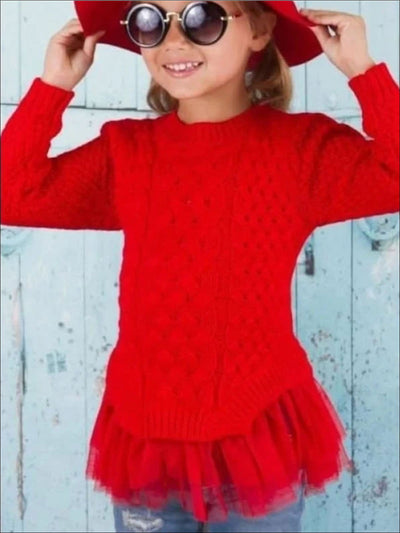 Red Chunky Knit Ruffle Sweater - Girls Sweater