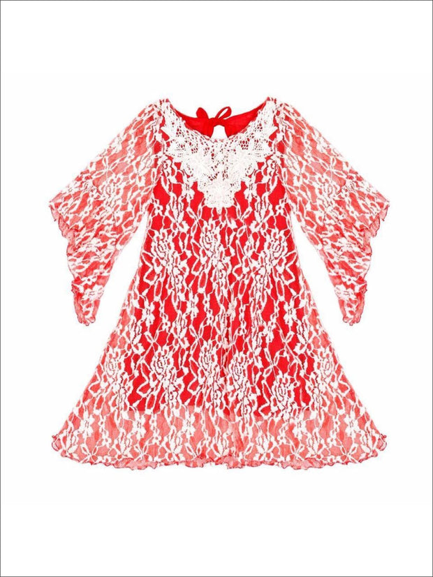 Red & White Lace Dress with Boho Sleeves and Crochet Collar - Girls Dressy Dress