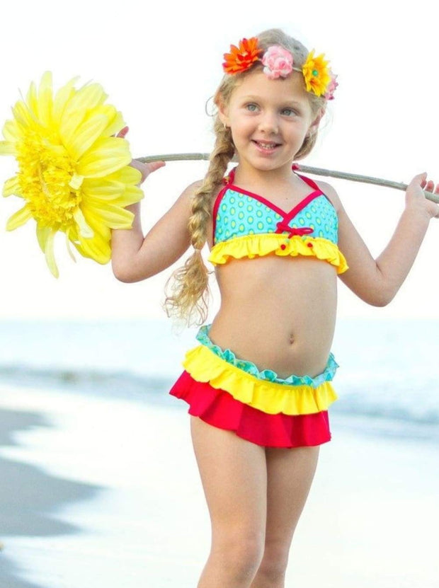 Red Yellow & Turquoise Colorblock Ruffled Skirt Bikini - Girls Two Piece Swimsuit