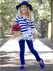 Royal Stripe Ruffled Wrap Tunic and Leggings Set - Girls Fall Casual Set