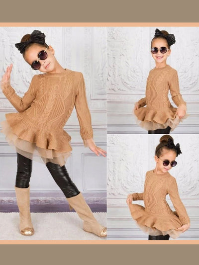 Girls Camel Chunky Knit Tutu Peplum Sweater