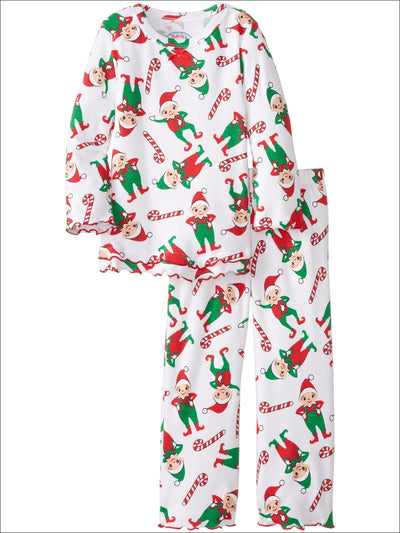 Saras Prints Little Girls Holiday Elves Ruffle Top and Pant