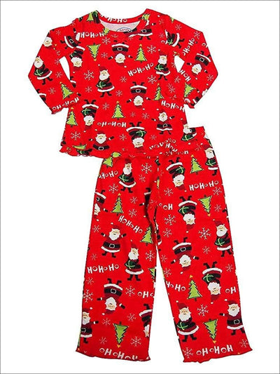 Saras Prints Little Girls Long Sleeve HoHoHo Santa Ruffle Pajamas