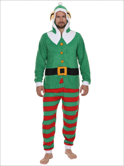 Secret Santa Mens Elf Hooded Christmas Onesie Union Suit Pajama - S/M / Green