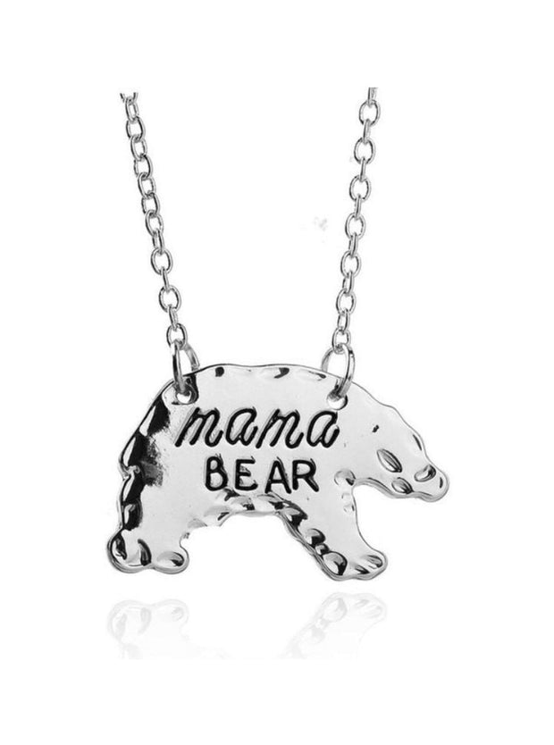 SILVER Mothers Day Necklace Mama Bear APR17CNALNECK14S - Silver / 1.9*2.8cm