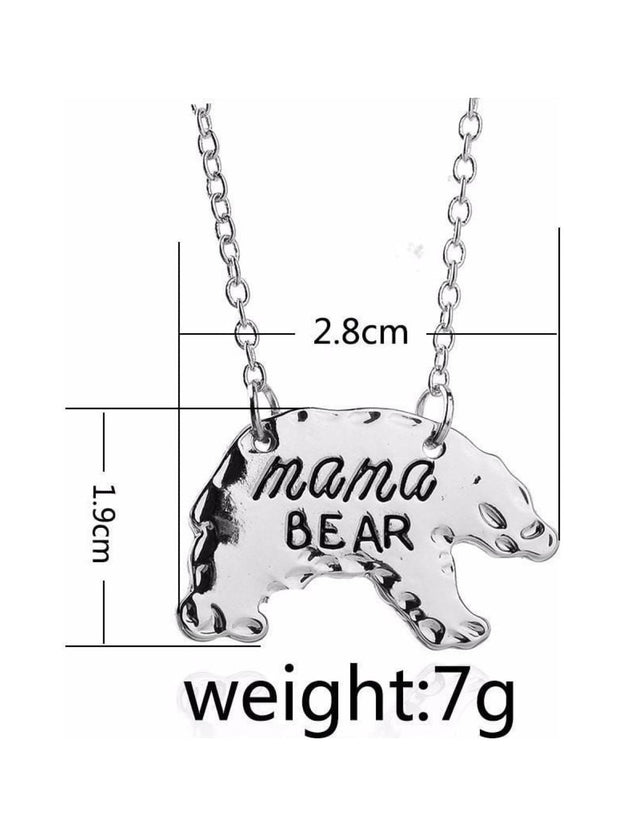 SILVER Mothers Day Necklace Mama Bear APR17CNALNECK14S