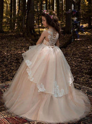 Sleeveless Lace Applique Flower Girl Floor-Length Gown - Girls Gown