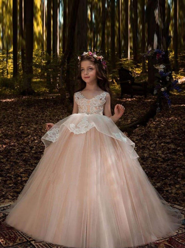 Sleeveless Lace Applique Flower Girl Floor-Length Gown - Beige / 2T - Girls Gown