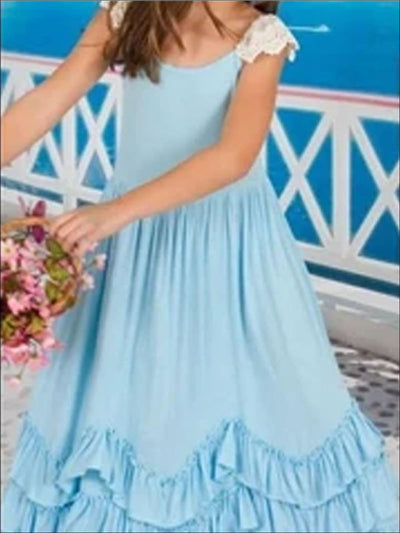 Sleeveless Ruffled Princess Maxi Dress - Blue / 2T