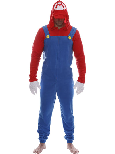 Super Mario Bros. Mens Mario Hooded Plus Union Suit Nintendo Pajama Onesie Costume - 2X / Red & Blue
