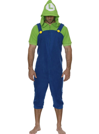 Super Mario Bros. Mens Luigi Onesie Union Suit Pajama Costume - L/XL / Green & Blue