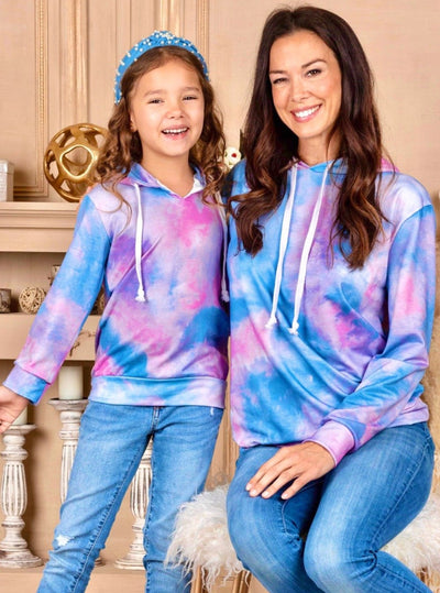 Mia Belle Girls Mommy and Me Tie Dye Hoodie blue and pink 2T-10Y and mom S-XXL