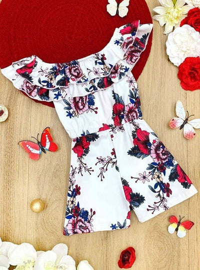 Girls Double Ruffle Floral Rose Romper