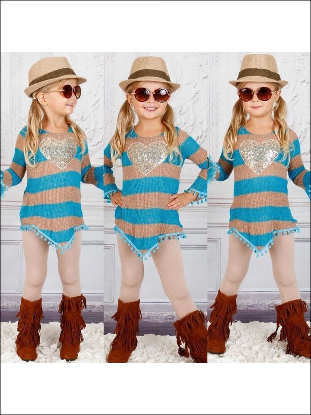 Taupe V Bottom Fringe Trim Tunic & Leggings (JUL16SET18T) - taupe / 3T - Fall Low Stock
