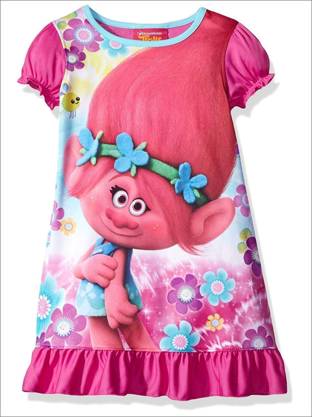 Trolls Girls Short Sleeve Nightgown Candied Carnation - Girls Pajama