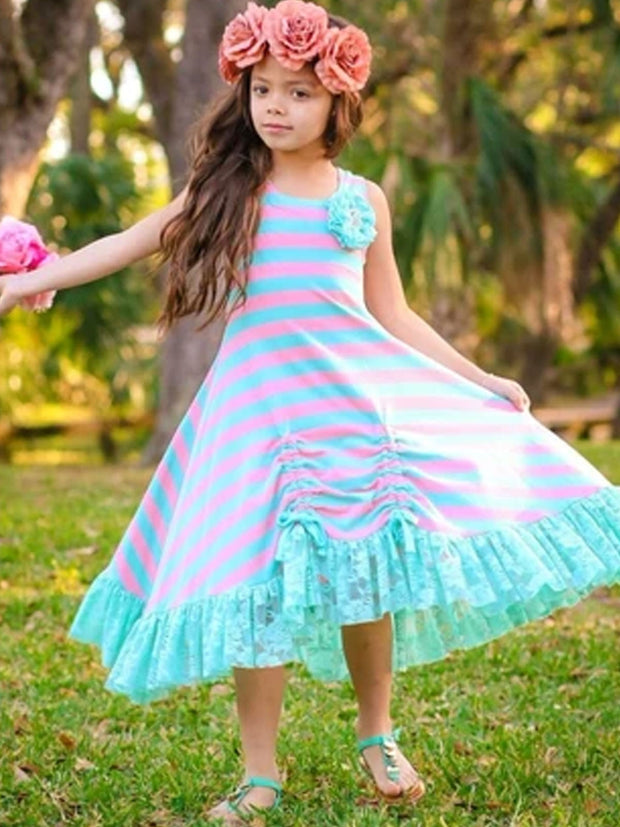 Girls Striped Hi-Lo Ruffled Lace Hem Drawstring Dress