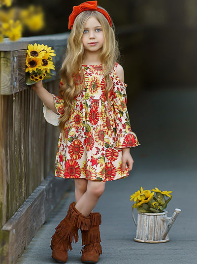Girls Sunflower Print Cold Shoulder Ruffled Long Sleeve Dress