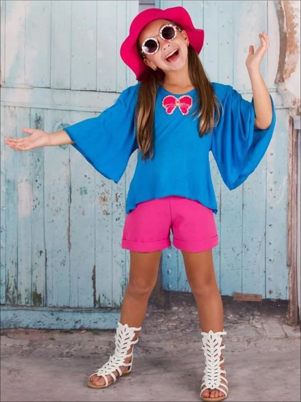 Turquoise Boho Bell Sleeve Top & Shorts Set - Turquoise / 3T - Girls Spring Casual Set