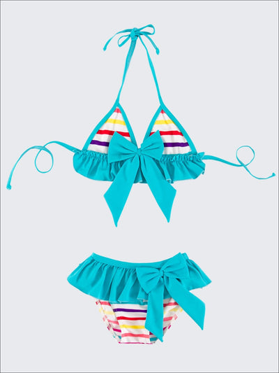 Turquoise Striped Triangle Top & Skirted Bikini - Turquoise / 3T - Girls Two Piece Swimsuit