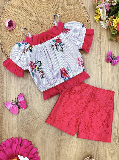 Girls Ruffled Pinstripe Floral Top and Shorts Set