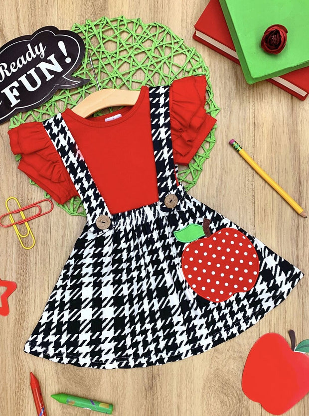 Girls Red Flutter Sleeve Top & Apple Applique Houndstooth Overall Dress Set