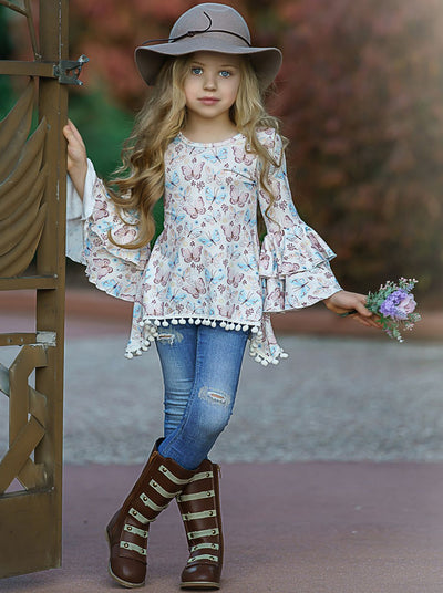 Girls Tiered Boho Sleeve Sidetail Tunic with Pom Pom Trim