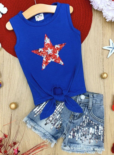 Girls Sequin Star Knot Tank and Sequin Denim Shorts Set