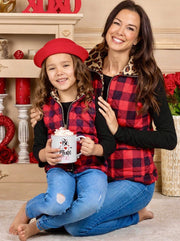 Mommy and Me Plaid Leopard Print Lined Pocket Vest 2T-10Y red and black winter