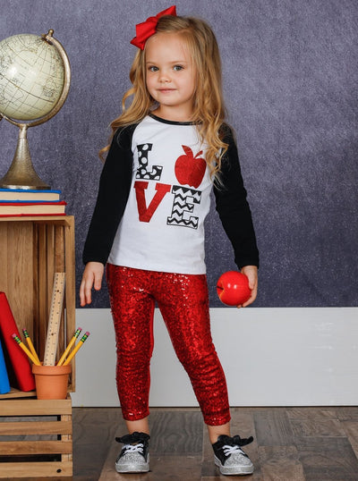 "Girls Raglan Sleeve ""Love"" Apple Print Top & Red Sequin Leggings Set"