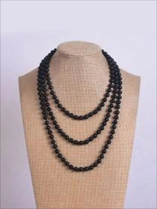 Vintage Style Long Pearl Necklace (Multiple Color Options) - Black / 150cm - Girls Accessories
