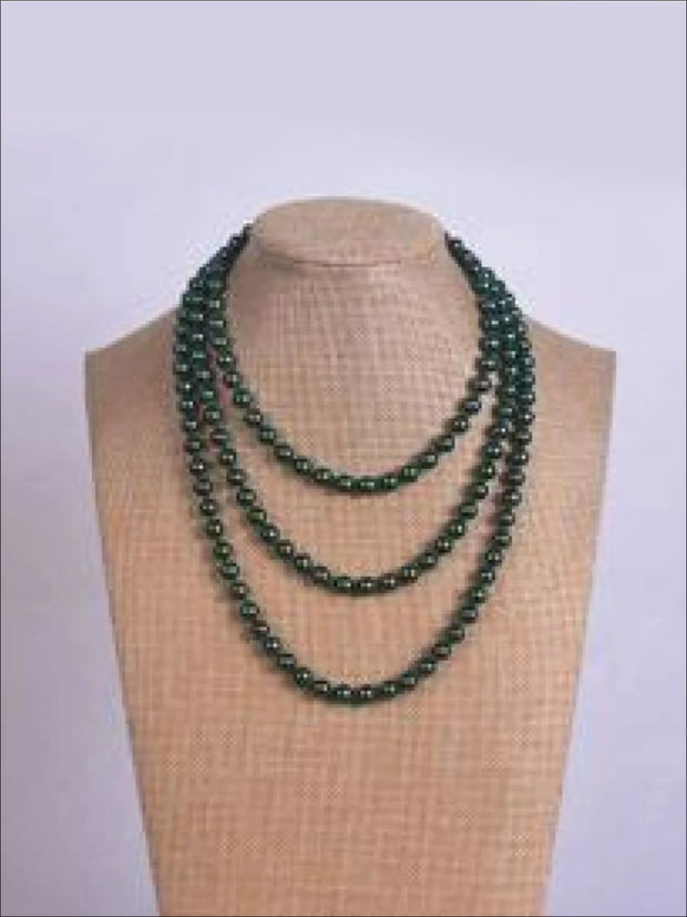 Vintage Style Long Pearl Necklace (Multiple Color Options) - Green / 150cm - Girls Accessories