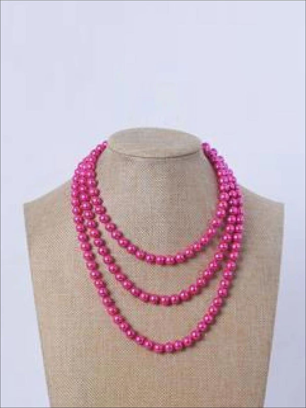 Vintage Style Long Pearl Necklace (Multiple Color Options) - Hot Pink / 150cm - Girls Accessories