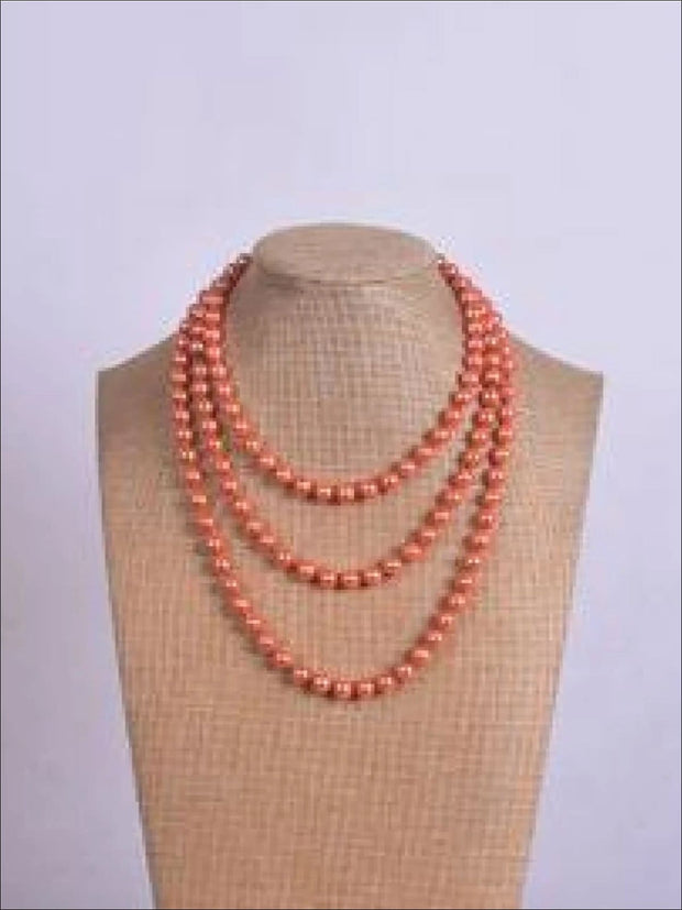 Vintage Style Long Pearl Necklace (Multiple Color Options) - Orange / 150cm - Girls Accessories