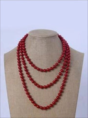 Vintage Style Long Pearl Necklace (Multiple Color Options) - Red / 150cm - Girls Accessories