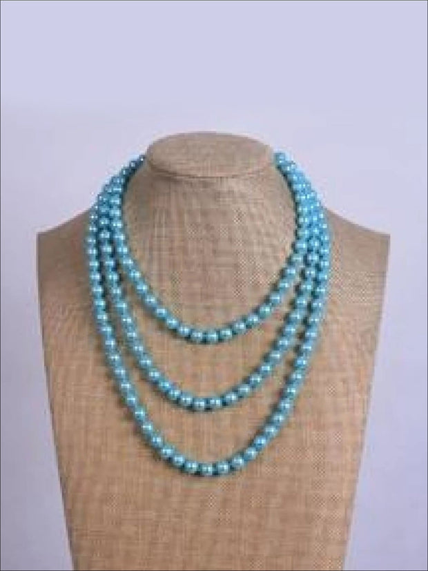 Vintage Style Long Pearl Necklace (Multiple Color Options) - Sky Blue / 150cm - Girls Accessories