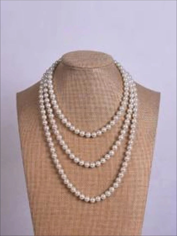 Vintage Style Long Pearl Necklace (Multiple Color Options) - White / 150cm - Girls Accessories