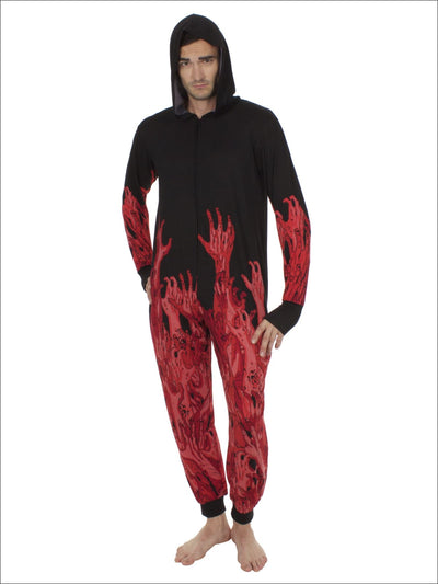 Walking Dead Mens Union Suit Hooded Onesie Pajama Costume - M / Black